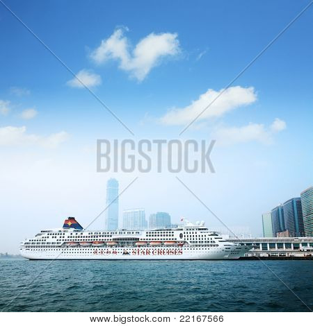 HONG KONG - DECEMBER 15: The Star Aquarius, first class ship of Star Cruises, is ready for the next World Tour and docked on December 15, 2008 at Ocean Terminal in Victoria Harbor, Hong Kong,CN