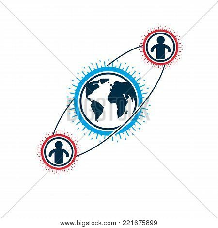 Mankind and Person conceptual logo, unique vector symbol created with different icons. System and social Matrix sign. Person and world interacts with each other. System and social Matrix sign.