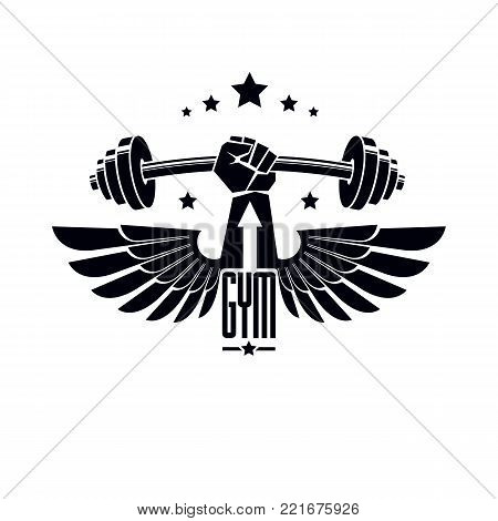Logotype for heavyweight gym or fitness sport gymnasium, winged retro stylized vector emblem or badge With barbell and strong hand fist.