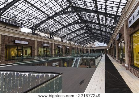 January 3, 2017 - Kiev, Ukraine. Outlet village Manufaktura is the first outlet shopping center in Ukraine, built in the architectural style of old European cities. Inner gallery