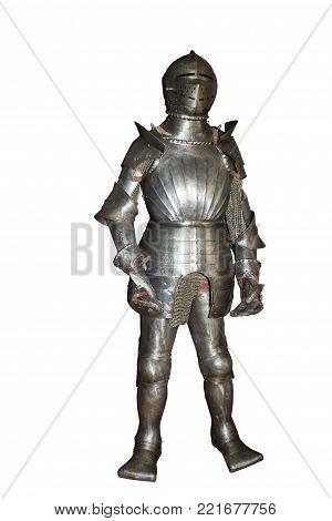 Historic armor of the knight on the white background