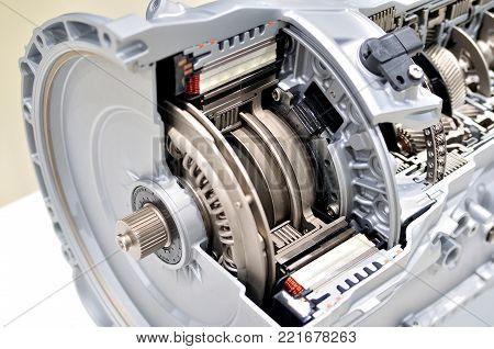 Automatic clutch cross section with car gearbox.