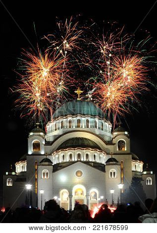 Low angle view on Saint Sava temple in Belgrade during firework