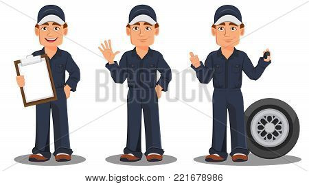 Professional auto mechanic in uniform. Smiling cartoon character, set with checklist, car wheel and keys. Expert service worker. Vector illustration