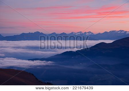 Scenic image of grand ridges at twilight. Location Seceda, Dolomiti group, Tyrol, Italy, Europe. Perfect alpine valley. Climate change. Concept of weather conditions. Discover the beauty of earth.