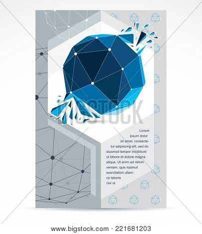 New technology theme booklet cover design, front page. 3D engineering vector, abstract blue polygonal demolished shape.