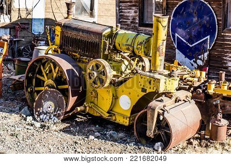 Vintage Min Steam Roller In Salvage Yard