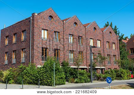Row houses made of red bricks seen in Berlin, Germany