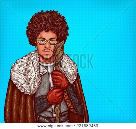 Vector cartoon illustration of medieval magician in leather armor, with fur cloak and glasses, with a magical wooden staff in his hands. Pop art man, dressed in carnival costume of mage goes for party
