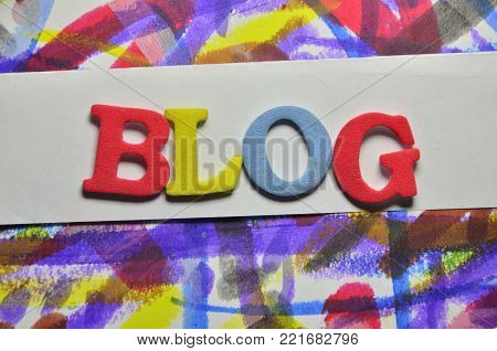 word blog on an  abstract c olored background