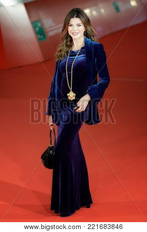 ROME, ITALY - OCTOBER 26: Alba Parietti walks a red carpet for 'Hostiles' during the 12th Rome Film Fest at Auditorium Parco Della Musica
