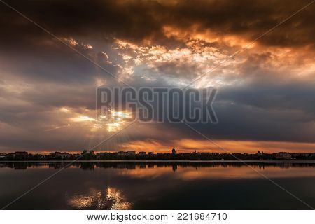 Fascinating Landscape. majestic sunrise. dramatic colorful sky over lake. color in nature. use as background. beauty in the world
