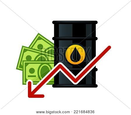 Lowering of barrel oil prices vector illustration