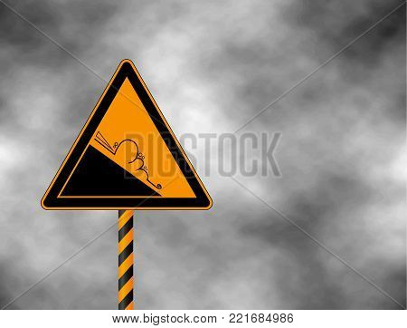 Winter snow covered mountains and warning sign of avalanche danger isolated on a grey sky. Danger sign avalanches of ice and snow at highway or road. Vector illustration