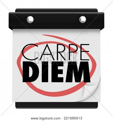 Carpe Diem Sieze the Day Wall Calendar Page 3d Illustration
