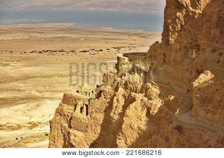 Irod palace on the Masada rock, Israel. Nord part of Masada
