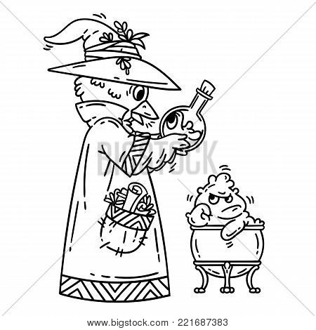 Magician creating cute monsters. Alchemist. Isolated objects on white background. Cartoon vector illustration. Coloring pages.