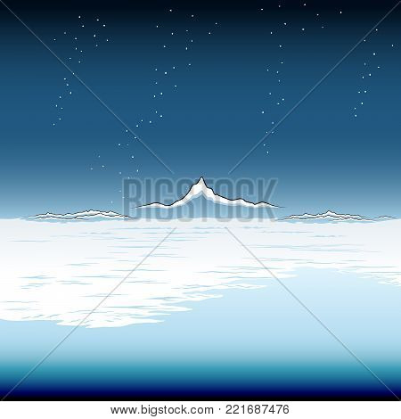Snowy Coastal Plain, vector drawing in style of Japanese woodblock of a winter coast.