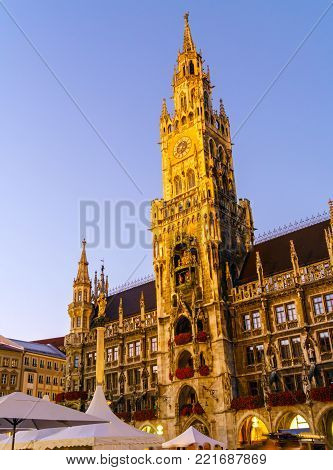 New Town Hall (neues Rathaus) On Marienplatz In Munich