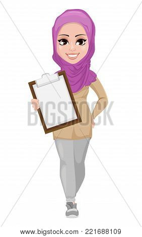 Arabic business woman, smiling cartoon character. Young beautiful Muslim businesswoman in casual clothes holding clipboard. Stock vector
