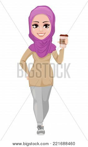 Arabic business woman, smiling cartoon character. Young beautiful Muslim businesswoman in casual clothes holding cup of coffee. Stock vector