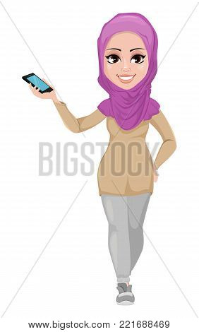 Arabic business woman, smiling cartoon character. Young beautiful Muslim businesswoman in casual clothes showing smartphone. Stock vector