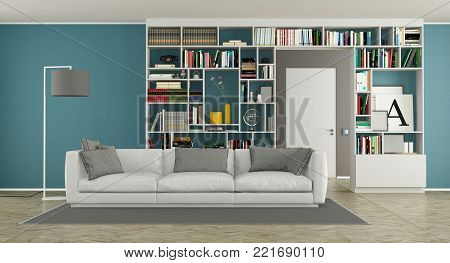 Modern living room with bookcase and white sofa - 3d rendering