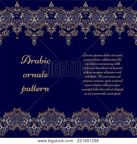 Seamless ethnic patterns for border. Repeated oriental motif for fabric or paper design. Gold pattern on a blue background. Ornate vignette for Your design cards, invitations.