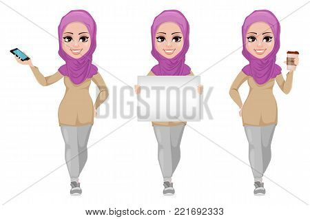 Arabic business woman, smiling cartoon character, set. Young beautiful Muslim businesswoman in casual clothes holding smartphone, holding blank banner and holding coffee. Stock vector