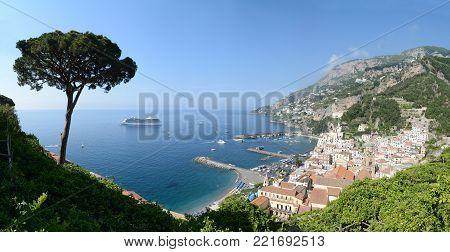 Panoramic view of city of Amalfi with coastline, Mediterranean Sea, Italy, Europe.