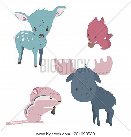 Forest animals vector set with isolated cartooning moose deer squirrel chipmunk in pink blue colors