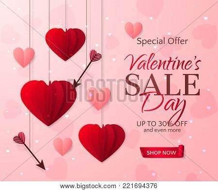 Vector romantic template of sale flyers and banners for Valentine's Day. Festive pink background with red paper hearts, arrows and a ribbon for discount and special offers. With place for text.