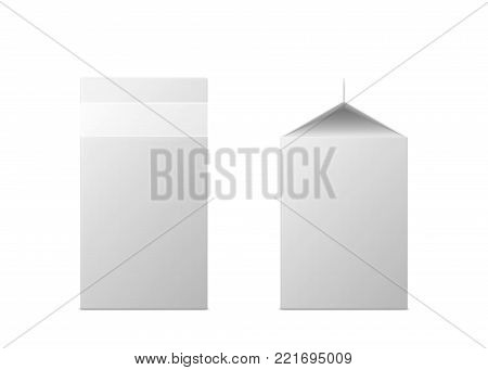 Vector 3d mock up of milk or juice box on white background. Realistic carton half liter package isolated. Template for your design. Front side view. 3d illustration.