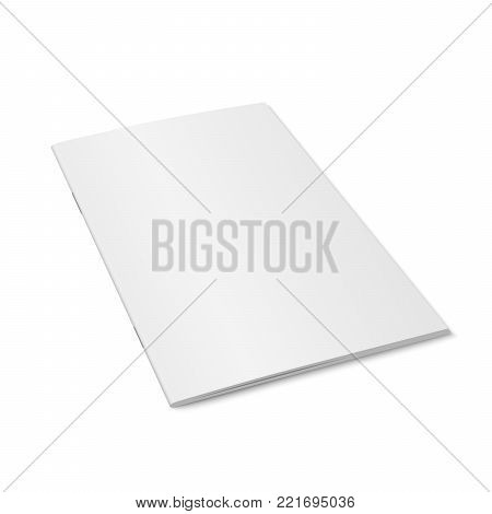 Vector white mock up of magazine isolated. Closed vertical magazine, brochure, book or notebook template on white background. 3d illustration. Diminishing perspective