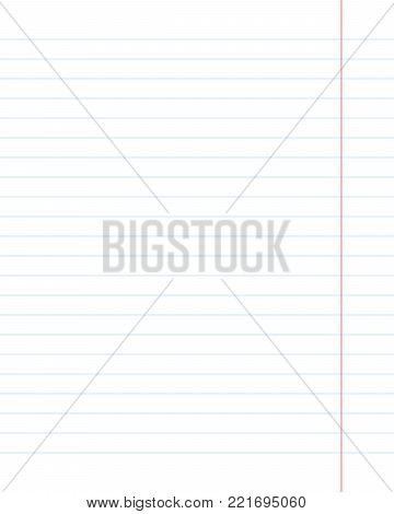 Vector realistic paper sheet blue lined. Single copybook sheet