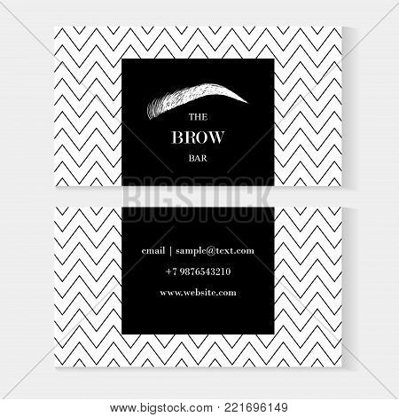Beautiful hand vector photo free trial bigstock business card template fashionable card on a black background in a white polka dot cheaphphosting Choice Image