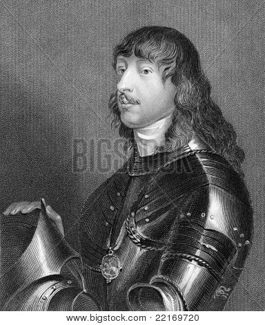 James Stanley, 7th Earl of Derby (1607-1651). Engraved by H.Robinson and published in Lodge's British Portraits encyclopedia, United Kingdom, 1823.