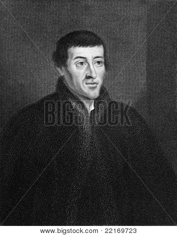 Nicolaus Copernicus (1473-1543). Engraved by E.Scriven and published in The Gallery of Portraits with Memoirs encyclopedia, United Kingdom, 1837.