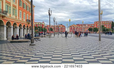NICE, FRANCE - MARCH 2015: Place Massena in Nice, French Riviera, Cote d'Azur, France