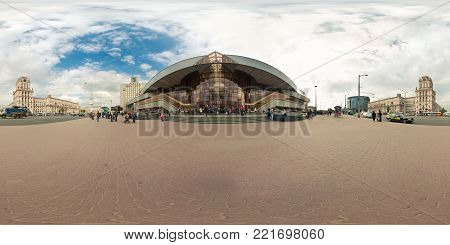 MINSK, BELARUS - MAY 28, 2010: 360 panorama view near railway station, minsk gate. Full 360 by 180 degrees seamless panorama  in equirectangular spherical projection. skybox for VR AR content
