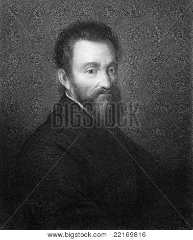 Michelangelo (1475-1564). Engraved by R.Woodman and published in The Gallery of Portraits with Memoirs encyclopedia, United Kingdom, 1837.
