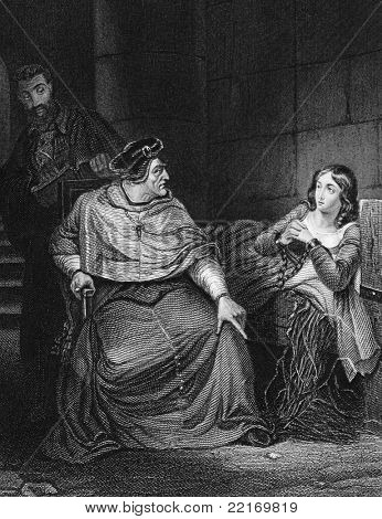 Joan of Arc examined by the Bishop of Winchester. Engraved by J.White and published in The National and Domestic History of England, United Kingdom, 1890.