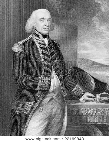 Richard Howe (1726-1799). Engraved by H.Robinson and published in England's Battles by Sea and Land, United Kingdom, 1890.