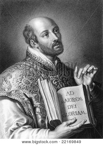 Ignatius of Loyola (1491-1556). Engraved by W.Holl and published in The Gallery Of Portraits With Memoirs encyclopedia, United Kingdom, 1837.