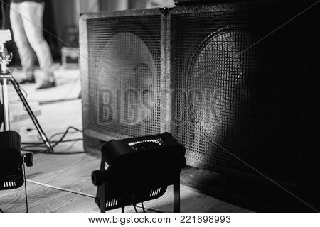 Large music speakers.Black and white art monochrome photography. Black and white creative photography. Black and white conceptual image. Beautiful black and white background.
