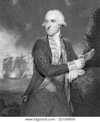 Admiral Samuel Hood, 1st Viscount Hood (1724-1816). Engraved by H.Robinson & published in Portraits & Memoirs of the Most Illustrious Personages of British History encyclopedia, United Kingdom, 1836.