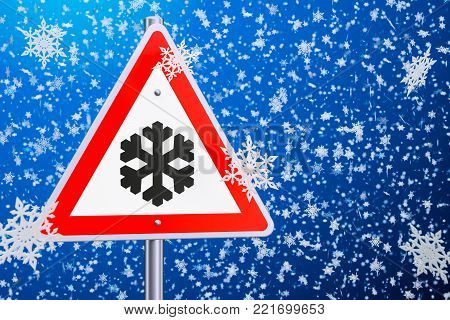 Beware of ice or snow, road sign. 3D rendering