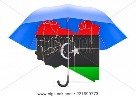 Libyan map under umbrella. Security and protect concept, 3D rendering