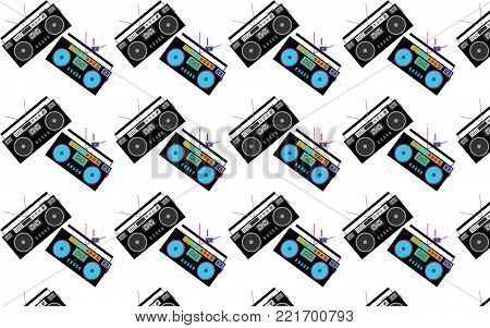 Pattern of black and white and colored, hipster, beautiful, vintage retro audio tape recorders from the 80's on a white background. Seamless texture. Vector illustration.