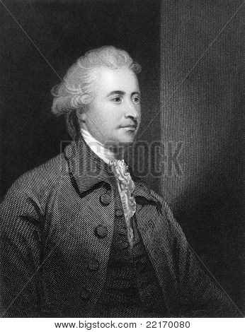 Edmund Burke (1729-1797). Engraved by H.Robinson and published in The National Portrait Gallery Of Illustrious And Eminent Personages encyclopedia, United Kingdom, 1847. poster